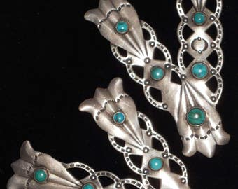 Vintage Navajo Coin Silver and Turquoise Collar Tips
