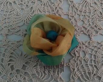 Decorative hair comb / Barrette kanzashi/Rose Blue green yellow/Fleur kanzashi/hair/fabric Barrette clip
