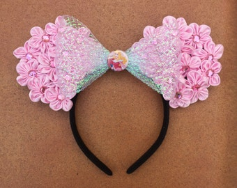 Sleeping Beauty Pink Flower Floral Minnie Mouse Ears.