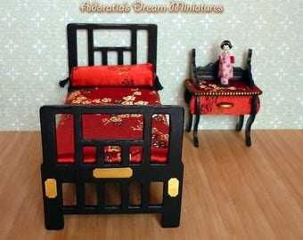 Dollhouse Chinese bed and nightstand  1:12 scale, Chinese dollhouse furniture set 12th, ooak miniature