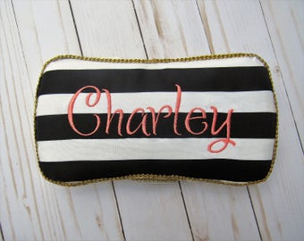 Embroidered Wipes Case | Personalized Wipes Case | Gender neutral Wipes Case | Black and White Striped Wipes Case