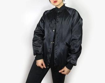 Black Satin Bomber Jacket Men's Small Medium Women's Large Oversize