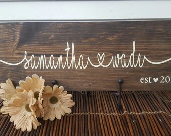 Handmade couple's name with heart wood sign