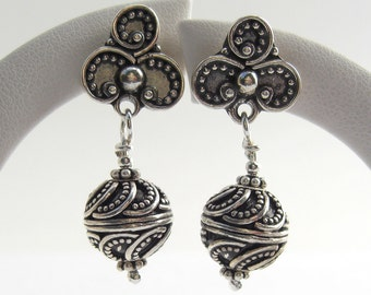 Intricately decorated Silver earrings 925 large Bali