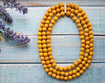 Bright Yellow Necklace Lemon Yellow Beaded Necklace Wooden Bead Necklace Jewelry  Necklaces  Beaded Necklaces  wooden necklace  wood jewelry