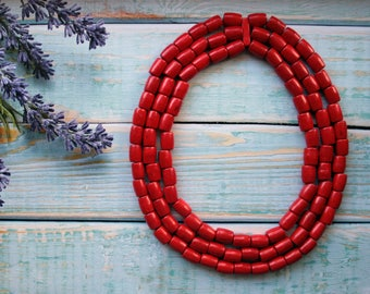 Ecofriendly jewelry, Multi Layered Necklace, Red necklace, natural wood, Beaded natural eco jewellery, ruby red necklace, Online Jewelry