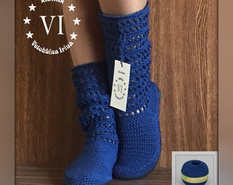 Crocheted Outdoor Summer Wedge Boots Folk Tribal Shoes Ecofriendly Made to Order Women Fashion Boots Boho style Women Summer Boots Blue