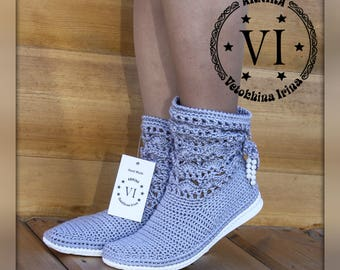 Ankle Boots/ Summer crochet boots/ Hand knitted for adult/ Crocheted Summer Boots/ Tribal/  Made to Order/ Women Fashion Boots/ Color grey