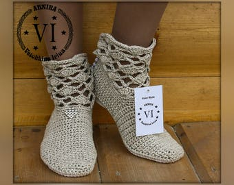 Summer crochet boots/ Ankle Boots/ Hand knitted for adult/ Crocheted Summer Boots/ Tribal/ Made to Order/ Women Fashion Boots/ Boho style