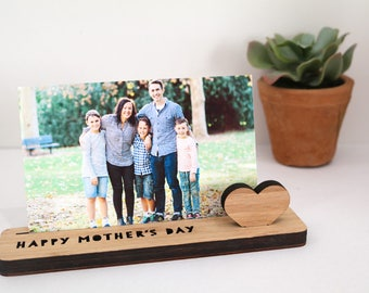 Photo Stand  - Happy Mother's Day - Photo Holder, Desk Caddy, Memory Holder, Quote Display, made from Bamboo