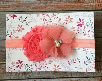 Coral Baby Headband/Baby Headband/Newborn Headband/Girls Headband/Baby Girl Headband/Baby Hair Bow/Toddler Headband/Infant Headband/Headband