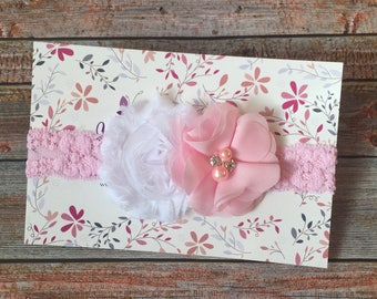 Pink Headband/Pink Baby Headband/Light Pink Headbands/Baby Headbands/Newborn Headband/Infant Headband/Baby Headband/Flower Headband/Pink