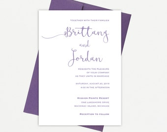 Modern, Simple, Elegant Purple, Printable Wedding Invitation Suite, Printable Template