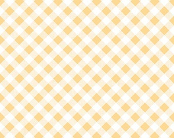 """End of Bolt, Sew Cherry 2 Gingham in Yellow from the Sew Cherry 2 Collection by Lori Holt for Riley Blake 18""""x44"""""""