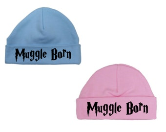 HARRY POTTER   -  New Pink/Blue 'Muggle Born' HAT, Newborn Gift, Baby Shower, Christening Present, Size Newborn & 0-3M