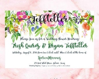Bridal Shower Invitation - Floral Vines - Wedding Shower Invitation - Custom Invitation