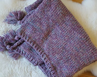 Soft and chunky hand knitted blanket with tassels, Toddlers blanket, purple blanket