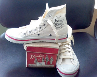 1950's Children's High Top Sneakers, In the box, Size 11.5 Black, vintage shoes Randy'sArch King Randoph MFG co