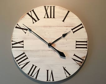 Large Off White Rustic Wood Clock - Pallet Clock - Reclaimed Wood Clock - Large Wall Clock - Unique Wall Clock - Farmhouse Clock