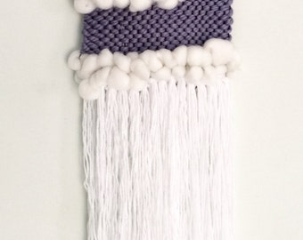 Woven wall hanging, blue and white. ON SALE.