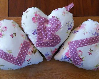 Padded heart, scented cushion, hanging heart