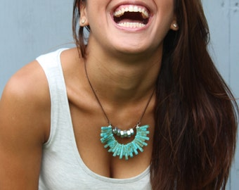 Edgy Hex Nut Necklace With Turquoise Stones