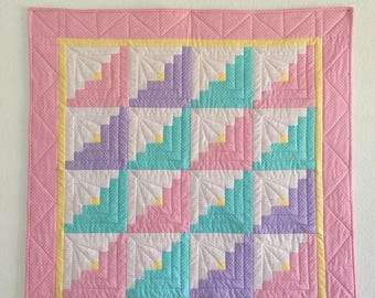 Baby quilts handmade, Baby girl quilt, Log Cabin baby quilt, Baby quilts, Crib quilt, Pink quilt, Baby blanket, Baby shower gift, Baby gift