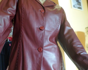 Vintage lamb leather Vallentino vera pelle jas / blazer / coat / jacket, handmade 1970s