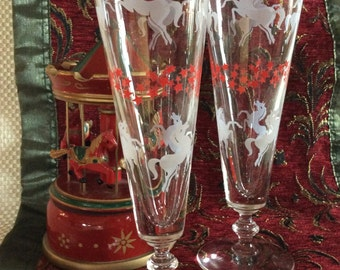 Lovely pair of pilsners carousel horse design galloping in the stars beer stein or soda pop glasses
