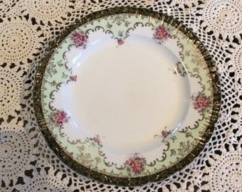 "Old Victoria Carlsbad Austria 11"" Dinner plate floral bouquet gold gilded"