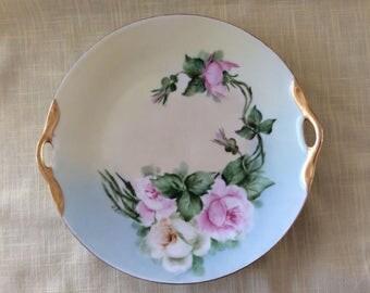 Antique cake plate roses pattern artist signed tea time serving platter hanging ome decor