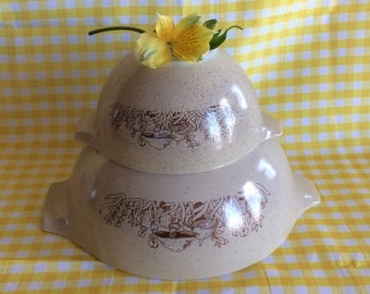 Vintage Pyrex Fancy Forest no 443 no 441 mushroom pattern nesting mixing bowl Retro kitchenware
