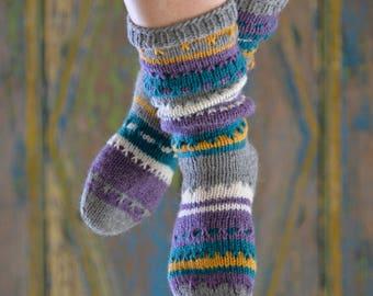 Purple/grey/white, hand-knitted socks 37/38