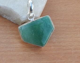 Fancy Shape Green Emerald Pendant, Handmade Artisan Pendant,  Emerald 925 Silver Pendant Jewelry