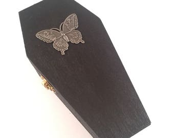 Coffin Ring Box with Butterfly, Velvet inside!