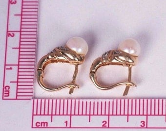 14K Yellow Gold 6mm. Pearl and Diamond Chip Earrings
