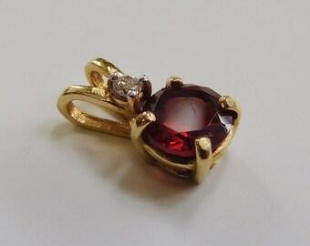 10K Yellow Gold Garnet and Diamond Pendant, .5 gram