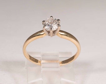 14k Yellow Gold Solitaire app .60 ct. Diamond Center. G Color, Clarity Included