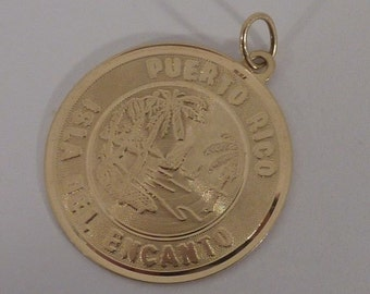 14K Yellow Gold Puerto Rico Pendant