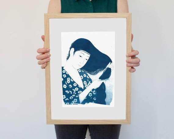 Geisha Combing Hair by Hashiguchi, Japanese Cyanotype on Watercolor Paper, Girlfriend Gift, For Her, Japan Lover, A4 size (Limited Edition)