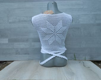 White crop top, cute top, Crochet crop top, Wrap top, yoga top, Party top, plus size womens clothing, White lace top, summer trend