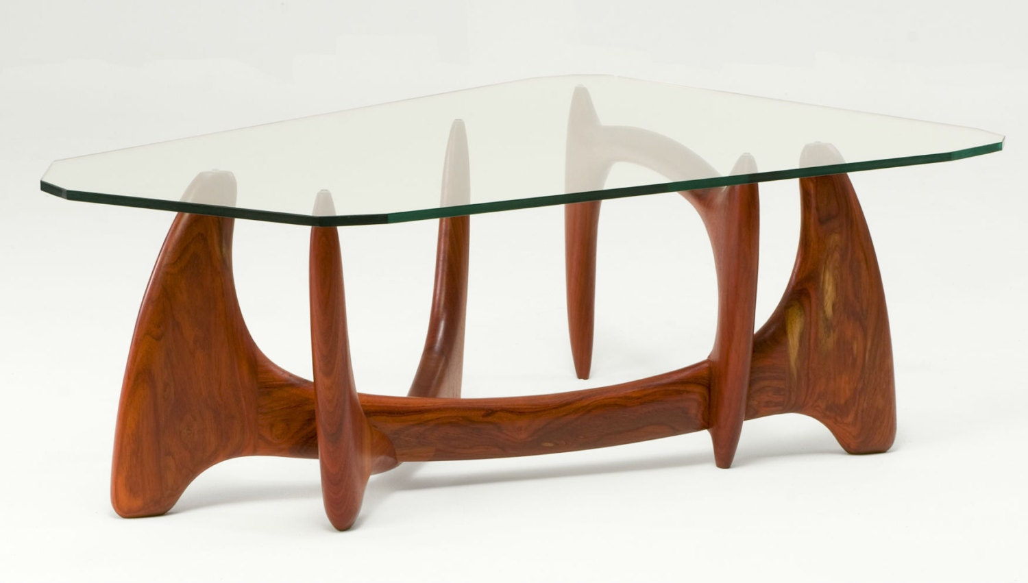 Modern Coffee Table Glass Top Solid Wood Base Mid Century