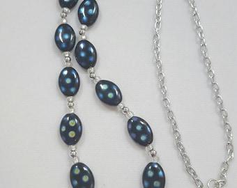 Dark blue spotted Czech Glass beads necklace