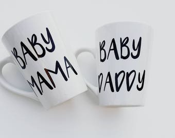 Baby Mama and Baby Daddy Coffee Mugs  Set, New Parents Mugs , Funny Coffee Mugs, Baby Shower Gift, Baby announcement