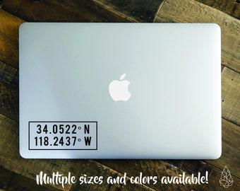 Coordinates Laptop Decal, Macbook Apple Decal, Coordinates Sticker, Yeti Decal