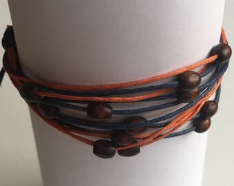 Adjustable Bracelet with Wooden Beads