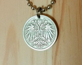 Austria Hungary coin necklace, Austrian Hungarian Double headed crowned eagle coin pendant, 10 Heller Austria coin pendant necklace.