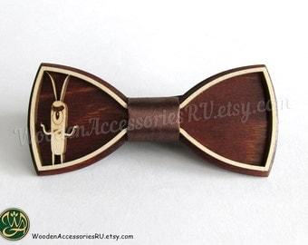 Wood bow tie Plankton, wooden unisex accessory for Spongebob fans