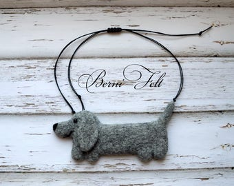 Dachshund Necklace, Wool Jewelry, Design Necklace, Felt Necklace