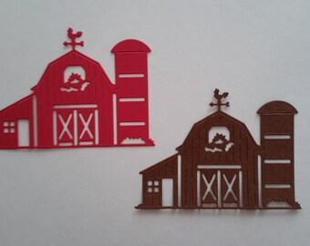 Petite Barn die cuts - Scrapbook die cuts - Paper barn cutouts - Farm cutouts